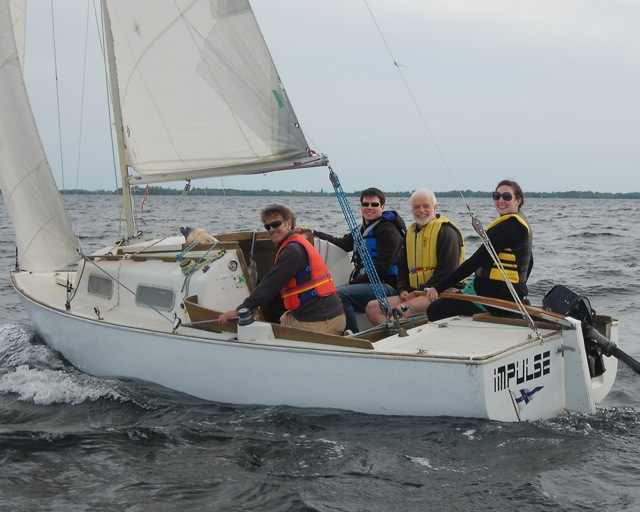 Adult Learn to Sail students sailing a Shark Keelboat